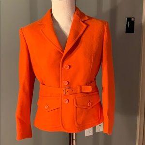 LIKE NEW!! FUN WOOL orange short blazer w/belt